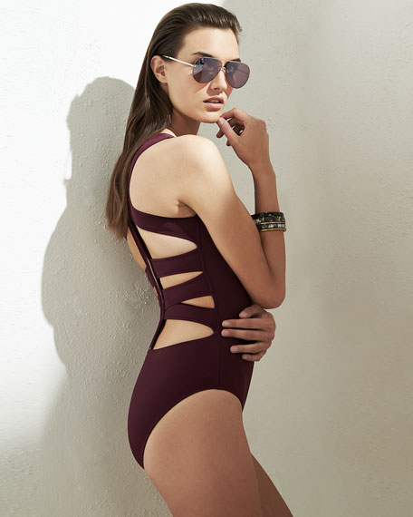 Carlotta Strappy Zip-Back One-Piece Swimsuit