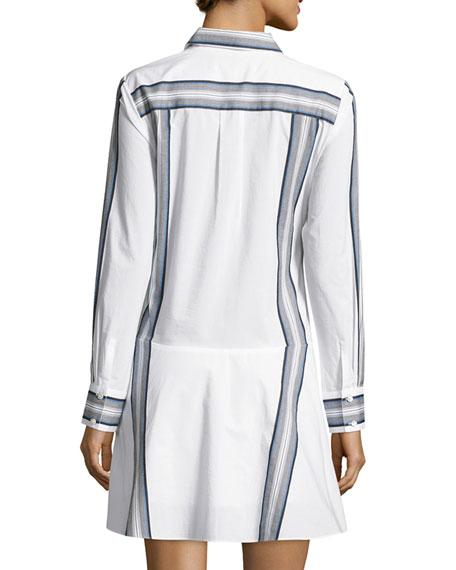 Long-Sleeve Poplin Tie-Waist Shirtdress