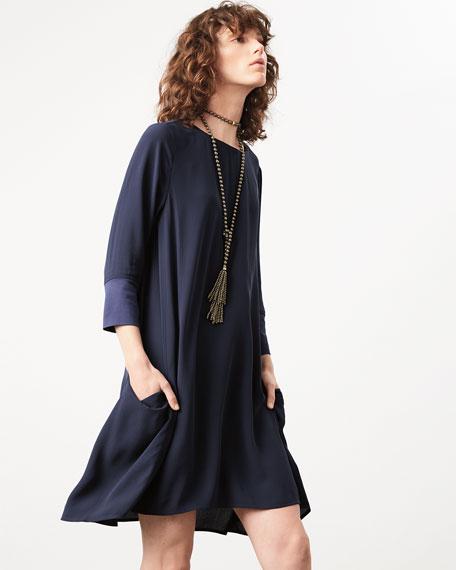 3/4-Sleeve Silk Georgette Shift Dress w/ Pockets