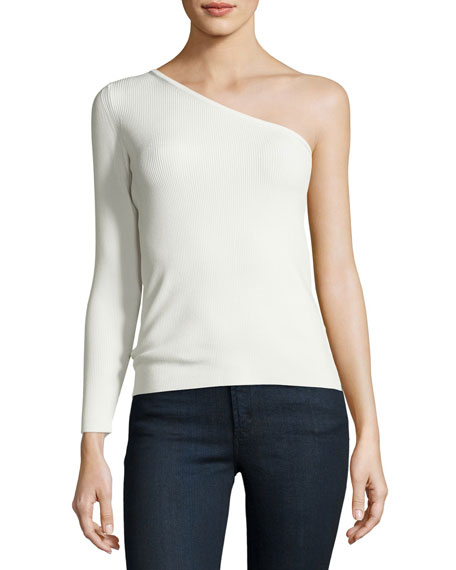 Image 3 of 3: Amanda One-Shoulder Ribbed Stretch Top