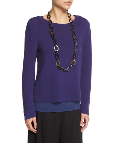 Eileen Fisher Long-Sleeve Nylon Cord Top