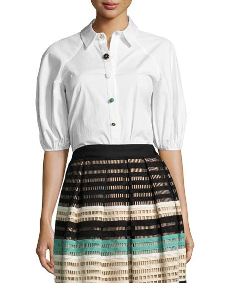 Full-Sleeve Button-Down Blouse, White