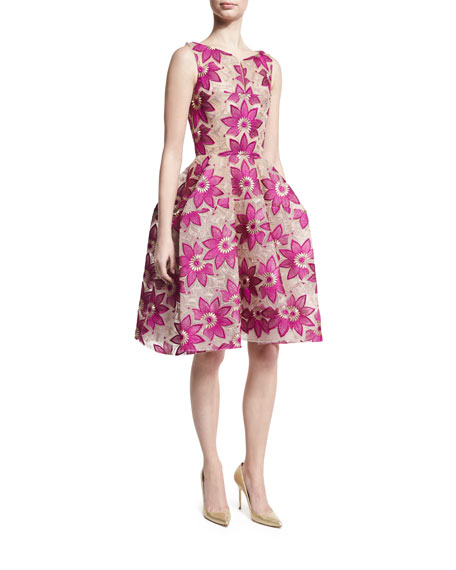 Floral-Embroidered Sleeveless Fit-and-Flare Dress, Magenta