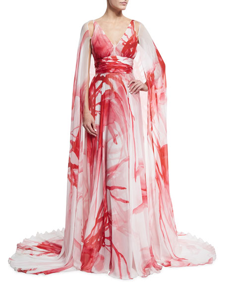 Naeem Khan Printed Chiffon V-Neck Cape Gown, Ivory/Coral