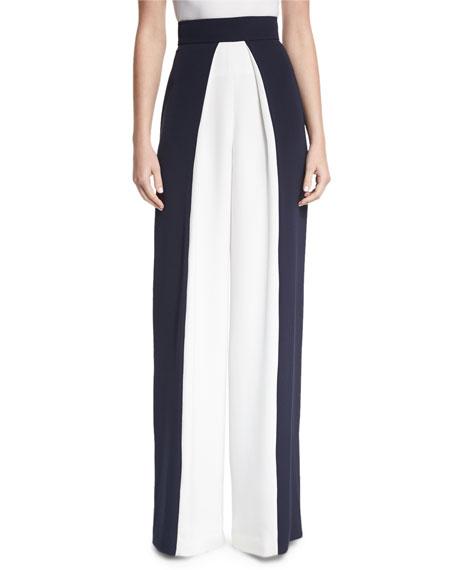 Cushnie Et Ochs Colorblock High-Waist Pants, Navy/White