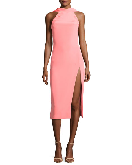 Halter Side-Slit Sheath Dress, Pink