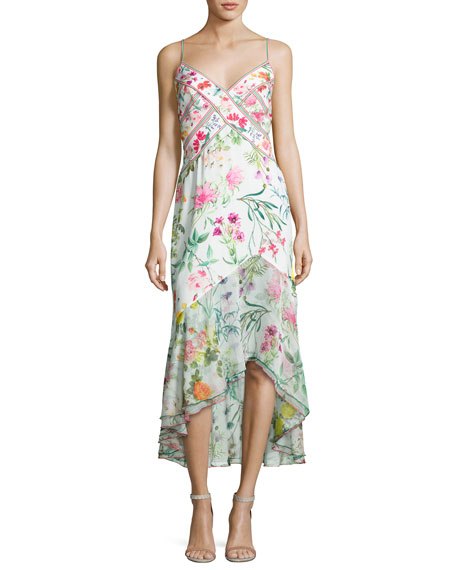 Sleeveless Fl Chiffon Midi Dress White Multicolor
