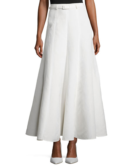 Co Belted Pleated Maxi Skirt, Ivory