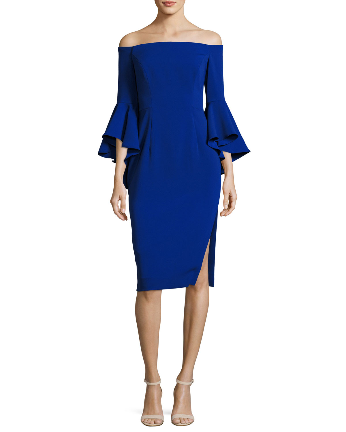 Milly Woman Off-the-shoulder Cady Mini Dress Cobalt Blue Size 6 Milly hRmbJ