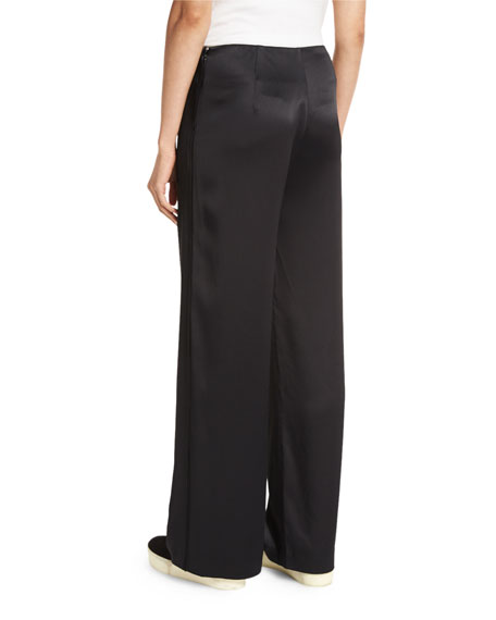 Fluid Wide-Leg Pants, Black