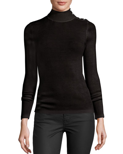 Merino Wool Button-Turtleneck Sweater, Black