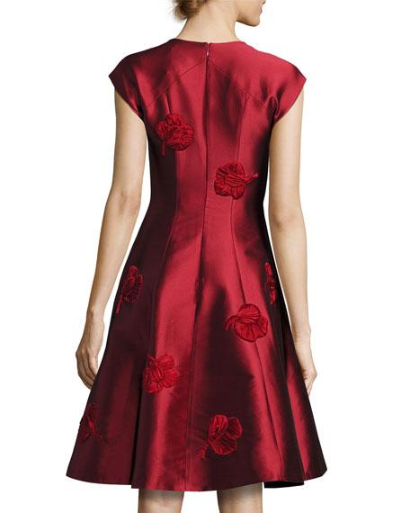 Sachin & Babi Cap-Sleeve Fit-and-Flare Jacquard Dress, Garnet