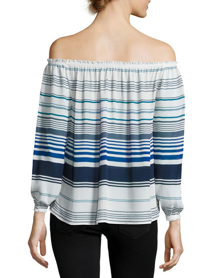 Bamboo Off-the-Shoulder Striped Silk Top