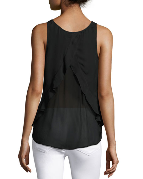 Micha Silk Drape-Back Tank Top