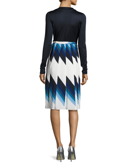 Pleated Silk Wrap Dress, Blue