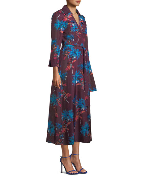Floral-Print Voile Maxi Wrap Dress