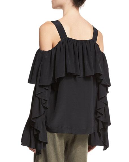 Cold-Shoulder Silk Ruffle Top, Black