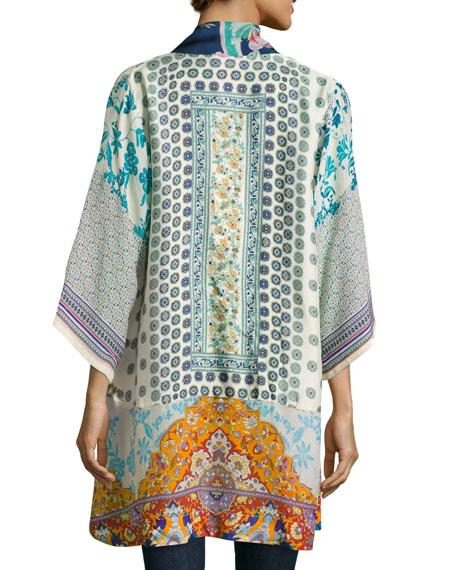 Johnny Was Plus Size Mixed-Print Twill Kimono Jacket, Multi