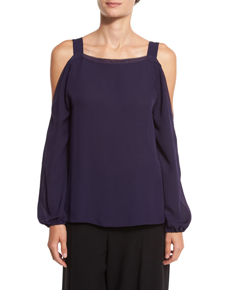 Elie Tahari Lindy Lace-Trim Cold-Shoulder Silk Blouse