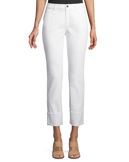 Lafayette 148 New York Thompson Wide-Cuff Cropped Denim