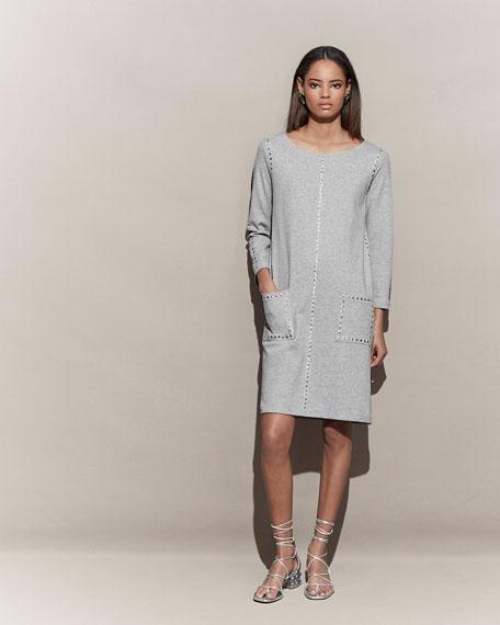 3/4-Sleeve Embellished Shift Dress