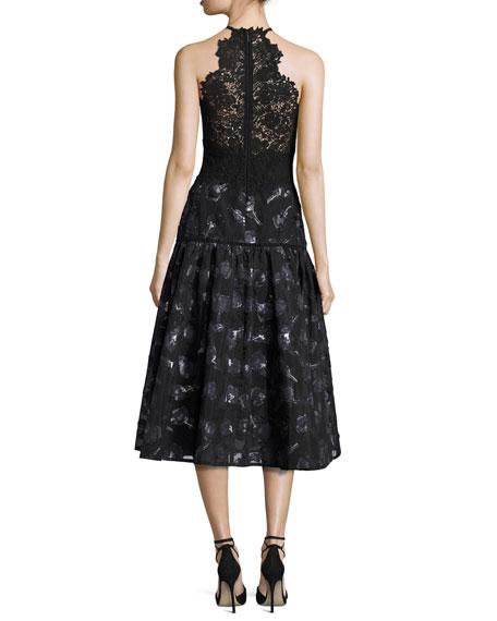 Floral Jacquard Lace Midi Dress