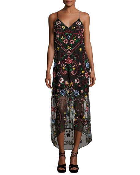 Alice + OliviaJameson Floral Embroidered Y-Back Midi Dress, Black Multicolor