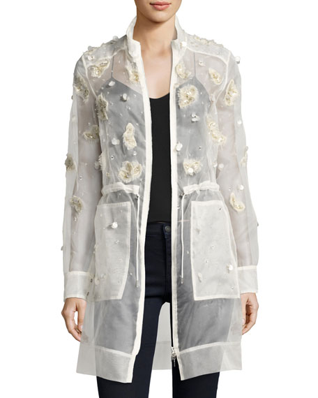 Elie Tahari Nicolette Sheer Silk Trench Coat