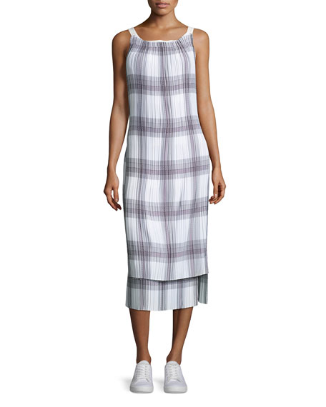 Helmut Lang Sleeveless Variegated Plaid Midi Dress, Black/White