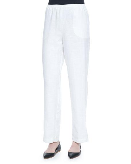 Plus Size Straight-Leg Lined Linen Pants