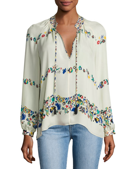 Derek Lam 10 Crosby Nehru Long-Sleeve Floral Silk