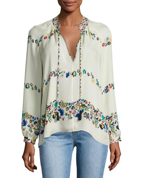 Derek Lam 10 Crosby Nehru Long-Sleeve Floral Silk
