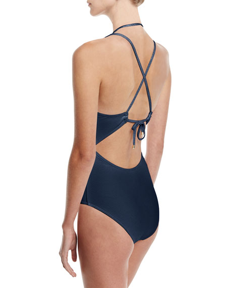 Perspective Plunge-Neck One-Piece Swimsuit, Blue