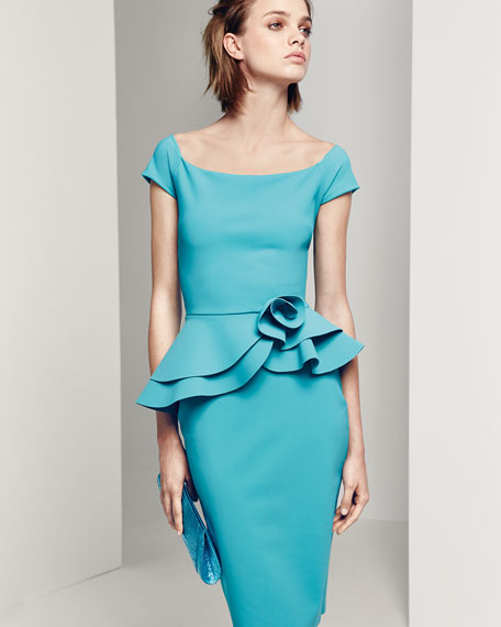 Lady Cap-Sleeve Peplum Cocktail Dress