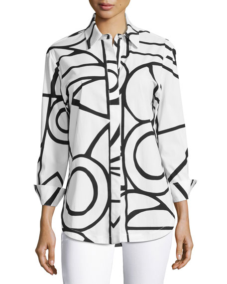 Graphic-Print Blouse, White/Black