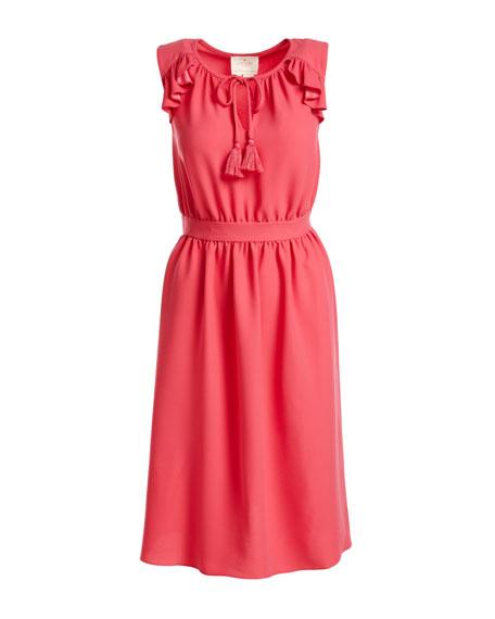 sleeveless crepe tie-front dress