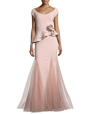 1331483c43 Chiara Boni La Petite Robe Lady Cap-Sleeve Peplum Mermaid Gown