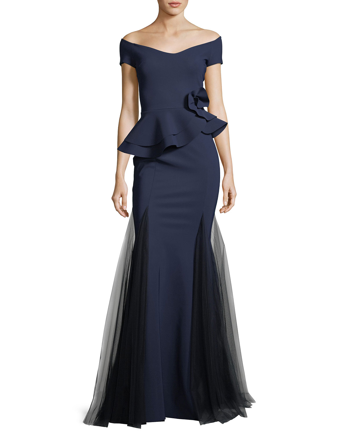 Navy Gown Neiman Marcus Frilly Laser Cut Longdress Quick Look