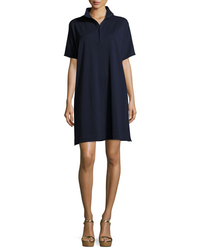 Petite Short-Sleeve Pique Dress