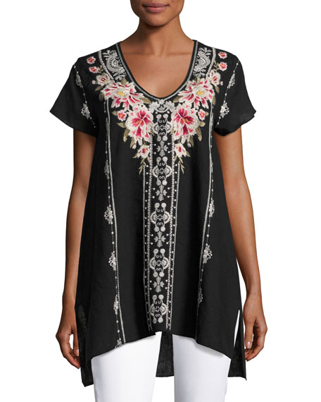 Christine Embroidered Linen Drape Top, Plus Size