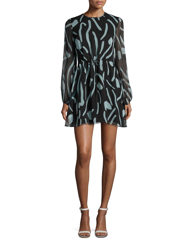 7c03029b724 Diane von Furstenberg Long-Sleeve Crewneck Silk Mini Dress