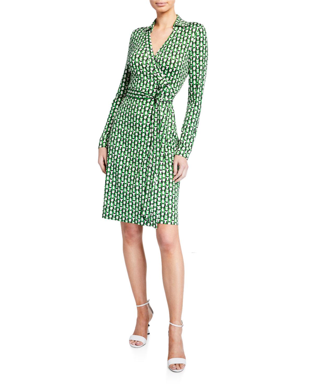 Diane Von Furstenberg Long Sleeve Knit Colorblock Midi