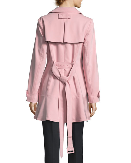 flounce-hem double-breasted trench coat