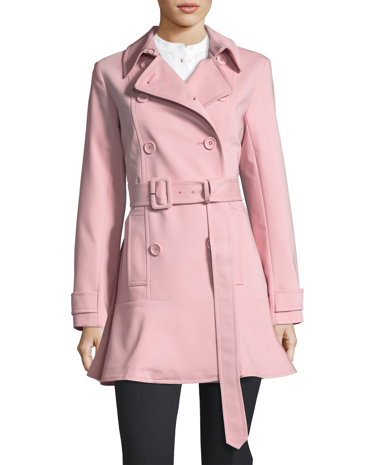 1e1aed1a8343 kate spade new york flounce-hem double-breasted trench coat