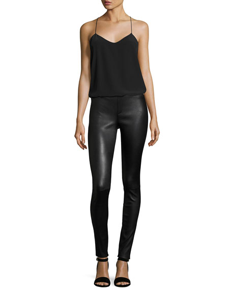 Stretch-Leather Leggings