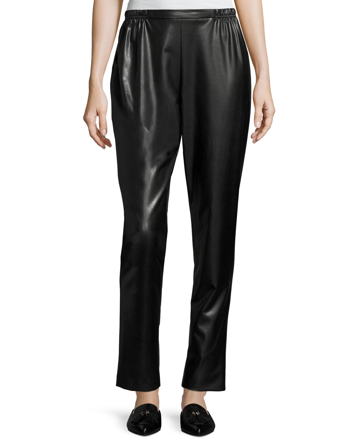 Caroline Rose Plus Size Bi-Stretch Faux-Leather Pants, Black
