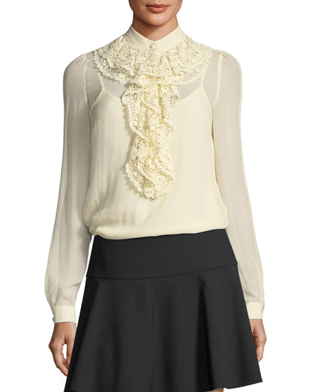 REDValentino Long-Sleeve Silk Georgette Blouse w/ Crocheted