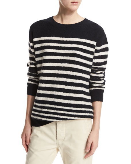 Vince Engineer-Striped Textured Pullover, Coastal/Off White