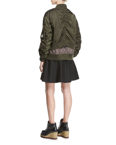 Aralia Ruched Tiered Bomber Jacket, Green
