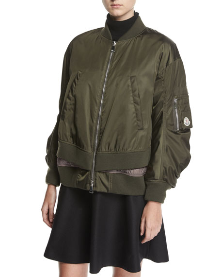 Moncler Aralia Ruched Tiered Bomber Jacket, Green/Pink